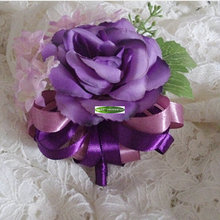 Fabric 6pcs Handmade Boutonniere Artificial Rose Corsage Brooch Flower Wedding Marriage Church Dancing Decor Purple F5114