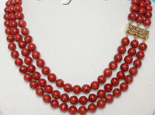 FREE SHIPPING  Hot sale HOT>>>>>genuine 100% Natural stone 3row red sponge coral necklace