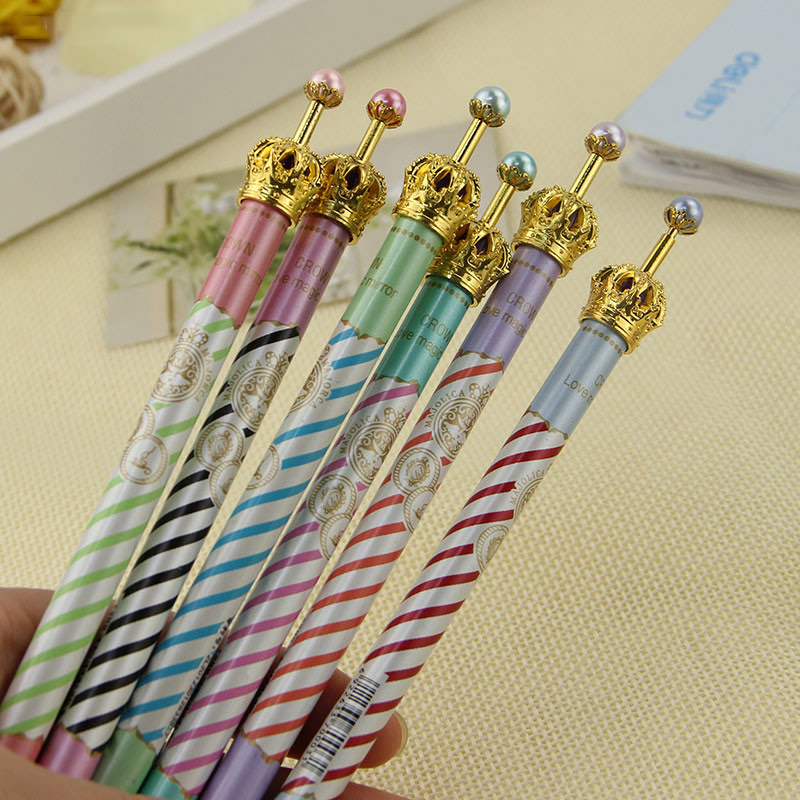 2 PCS Crown Style Ballpoint Pens Gel Pen Metal Ball Pen School Children Students and Office Supplie 6 Colors Random 0.5MM Refill(China)