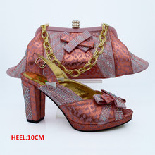 Latest Peach Color African Shoe and Matching Bags Italian Shoe and Bag Set Women Pumps Italy Shoe and Bag Set for Party  CP63008