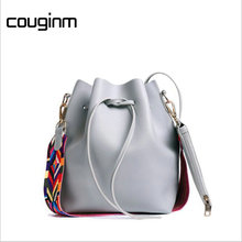 COUGINM Fashion Strap Bucket Bag Women High Quality Pu Leather Shoulder Luggage Brand Designer Ladies Crossbody Bags