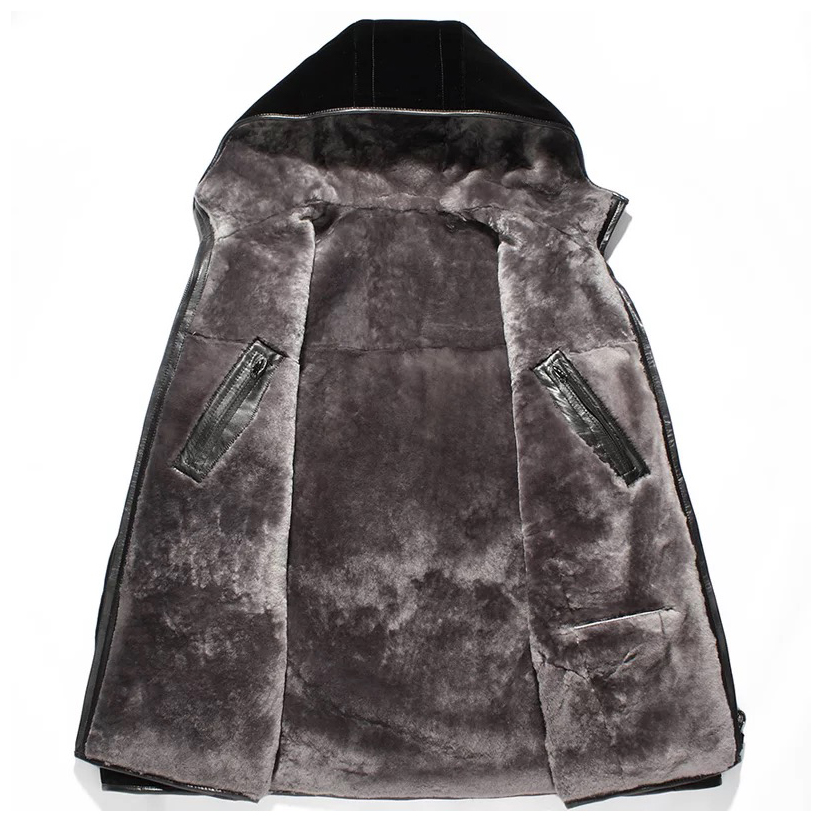 Real fur coats men genuine sheep shearing fur jacket with hood wool lined leather coat free shipping New Phoenix 323