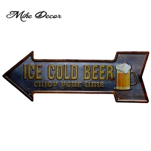 [ Mike Decor ] ICE COLD BEER Enjoy Your Time Vintage Arrow painting Retro Gift Craft Irregular sign Bar decor YC-614 Mix order