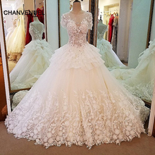 LS36751 short sleeve lace wedding gowns ball gown lace up back 3D flowers wedding dresses casamento real photos(China)