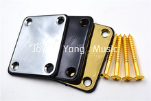 Lettering Carved Electric Guitar Neck Plate&4 Screws For Strat/Tele Style Electric Guitar/Bass Chrome/Gold/Black(China)