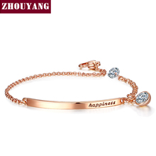 Top Quality ZYH195 OL Style Cubic Zirconia Rose Gold Color Bracelet Jewelry Austrian Crystal Wholesale(China)