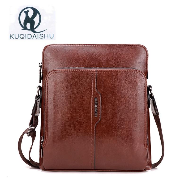 KUQIDAISHU Gentleman Messenger Bag Men PU Leather Tote Bag Business Negotiation Shoulder Bags Vintage Crossbody Man Bag<br>