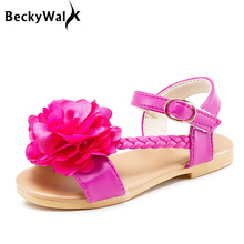 New 2017 Summer Children Shoes Girls Sandals Floral Princess Shoes Baby Toddler 4 colors Kids Sandals CSH347