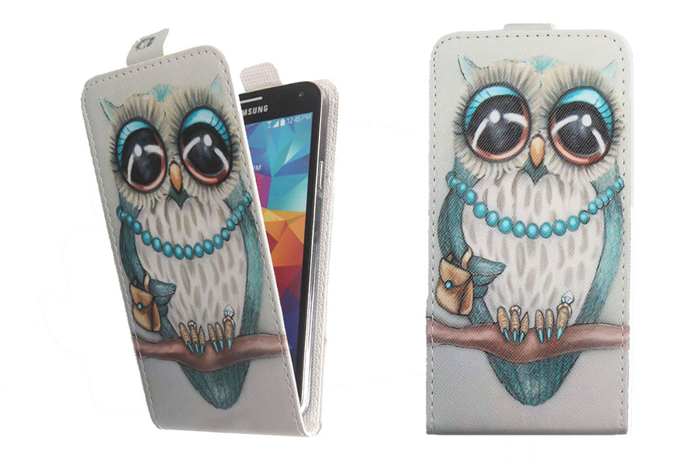 Fashion 11 Colors Cartoon Pattern Up and Down Flip PU Leather Case ...