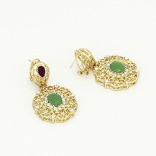 Dubai Italy Bridal jewelry Green crystal Earrings Necklaces Bracelets Rings Gold Costume Jewelry Sets for Women Free Shipping