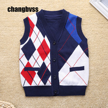 New Fashion Kids Sweater Vest Cheap Baby Boys Knitted Vest School Children V-neck Clothing Sleeveless Waistcoat Kids Outerwear(China)