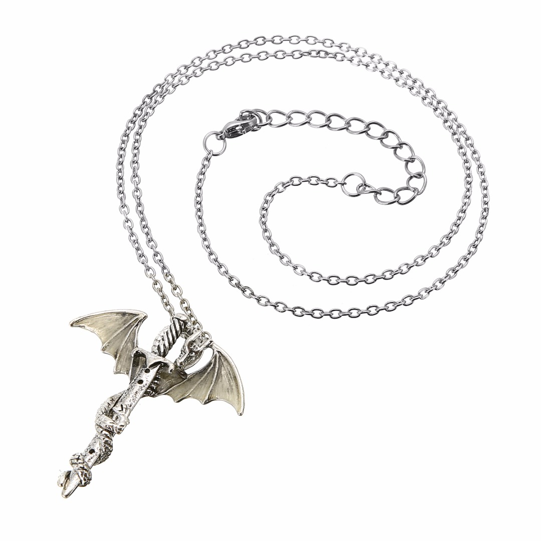 Dragon & Sword Glow in the Dark Pendant Necklace