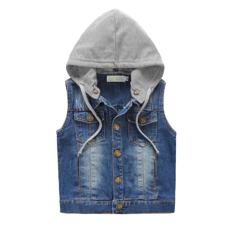 Boys Denim Vest Sleeveless Jeans Jackets Hooded Denim Vest For Girls Spring Autumn Casual Cowboy Outerwear Kids Waistcoat DQ548<br>