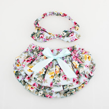 Floral Baby Bloomer & Headband Set Newborn Ruffle Diaper cover with Top Knot Head Wrap Summer Photo Costume KS005(China)
