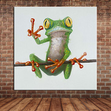 Funny Frog Taking Picture Pose Oil Painting Canvas Art ,Modern Cartoon Animal Acrylic Fabric Art Wall Mural Picture (No Frame)(China)