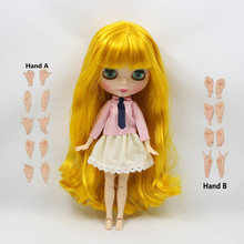 long yellow mango hair wavy joint doll with bangs 280BL3038 suitable for doll blyth doll sailor moon(China)