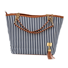 HEBA Chic New Fashion Navy Blue Stripe Design Women Street Snap Candid Tote Single Shoulder Canvas Bag Tassel Handbag(China)