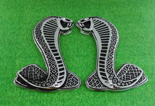 2pcs Auto car silver Cobra Snake for Mustang Shelby GT Emblem Badge Sticker