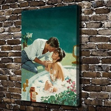 A1529 Sexy Naked Women Men Bath Figures Scenery.HD Canvas Print Home decoration Living Room bedroom Wall pictures Art painting