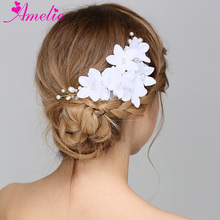 Bridal Hair Comb White Artificial Flower Jewelry Trendy Pearl Wedding Headpiece Women Ornament Girl Costume Prom Party Side Comb(China)