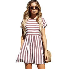 Buy Lossky Women's Dress Casual 2018 Summer Hot Sexy Striped Striped Round O-Neck Short Sleeve Slim Dress Mini Womens for $8.31 in AliExpress store
