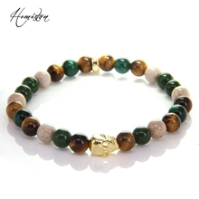 Thomas Colorful Material Mix Featuring Tiger Eye Gold Skull Bead Bracelet, Plated Glam Jewelry Soul Gift for Women TS B378