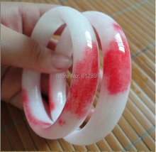 Hot sold Exquisite Jadeite Bangle / Red and White Colorful Bangle for Women's 1 PCS(China)