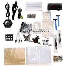 1 Sets Professinal Professional Tattoo Kits 3 Tattoo Gun Machine + LCD Power Supply +Pedal + Needles Tip Gift Body Art HOT #p