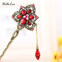 2016 new style Special Ethnic Hair stick Bob Natural stonee flower Handmade vintage Women jewelry Chinese hair stick Gift(China)