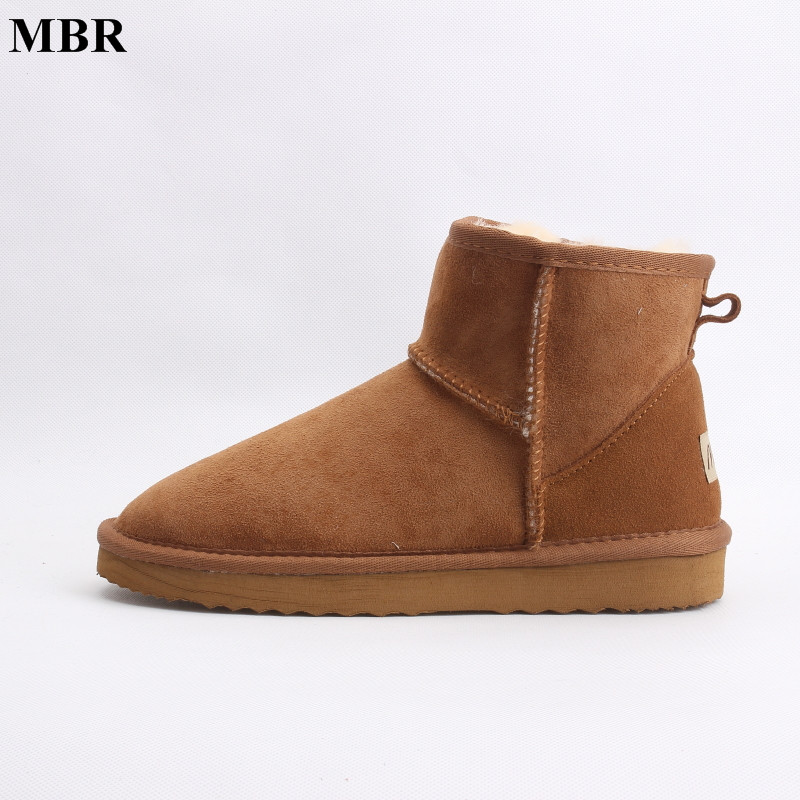MBR real sheepskin leather short ankle suede UG snow boots for women wool fur lined winter shoes with snow boots red brown black<br>