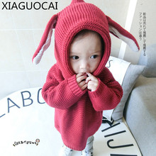 Autumn winter Baby Sweater Rabbit hat Cotton lovely Boys Girls soft Cashmere sweaters Solid color pullover kids clothes B8 10(China)