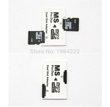 30pcs/lot Micro SD HC to Memory Stick MS Pro Duo Card Dual 2 Slot Adapter for Sony PSP 1000 2000 3000 psp1000 2000 3000(China)