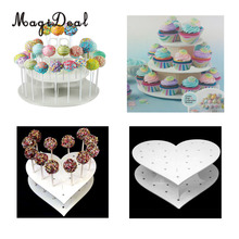 MagiDeal Acrylic Heart/Round 15 Holes/42 Holes Lollipop Holder Cake Pop Display Stand Wedding Party Decor Candy Stand Cake Tools(China)