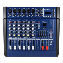 6 Channels Digital Mic Line Audio Mixing Console Power Mixer Amplifier  USB/ SD Slot for Recording DJ Stage Karaoke