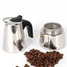 New Multi-Function 2-Cup Coffee Percolator Stove Top Coffee Maker Moka Espresso Latte Stainless Steel Pot