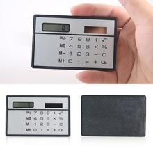 1PC Mini Solar Calculator Function Credit Card Calculadora Pocket Calculator Novelty Small Slim Man Woman Gifts