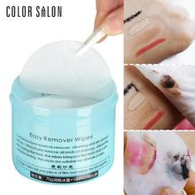 Color Salon Face Makeup Remover 100pcs Wet Wipe Eye Cleaner Make Up Oil Cleansing Eyeshadow Towel Tool Lip Clean Cotton Pads(China)