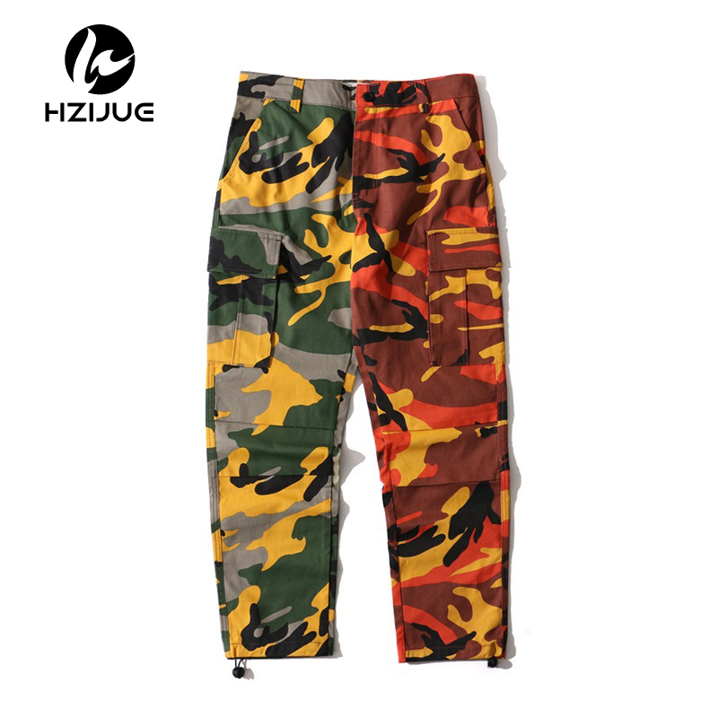 Patchwork Camouflage Cargo Pants Men 2017 New Fashion Loose Style Men's Pants Multy Camo Pants