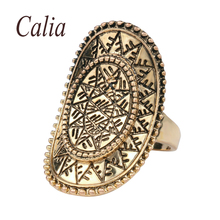 India Men Ring 2016 New Cheap Vintage Ring Ancient Gold Charms Oval Sun Gold Decorative Lucky Pattern Gift Women Fine Jewelry