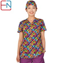 Hennar Women medical scrub tops in 100% cotton scrubs,women scrub tops,women medical uniforms(China)