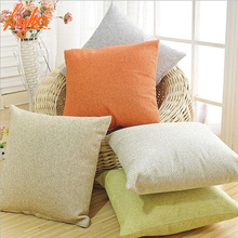 Pillow Case Solid Red Purple Cotton Linen Waist Pillow Cushion Case Cover Car Sofa Seat Chair Pillowcase Home Textile