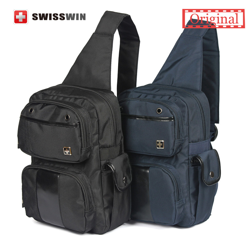 Swisswin Fashion Waterproof Small Casual Shoulder Bags swissgear wenger Men Chest Bag for Outdoor Cycling Black Blue<br><br>Aliexpress