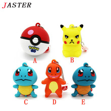 JASTER Pokemon Pikachu pendrive 4gb 8gb 16gb 32gb keychain cartoon squirtle charizard usb flash drive pendriver memory card gift
