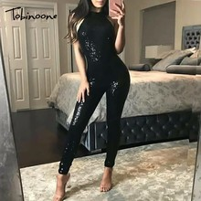 Buy Tobinoone 2018 Black Sequin Jumpsuits Sexy Women Summer Halter Backless Celebrity Party Jumpsuits Hip Zipper Pencil Rompers