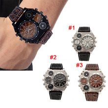2017 Hot Sell Men's Dual Movement Sports Military Watch with Compass Thermometer Decoration Big Dial Watch Gift   LL