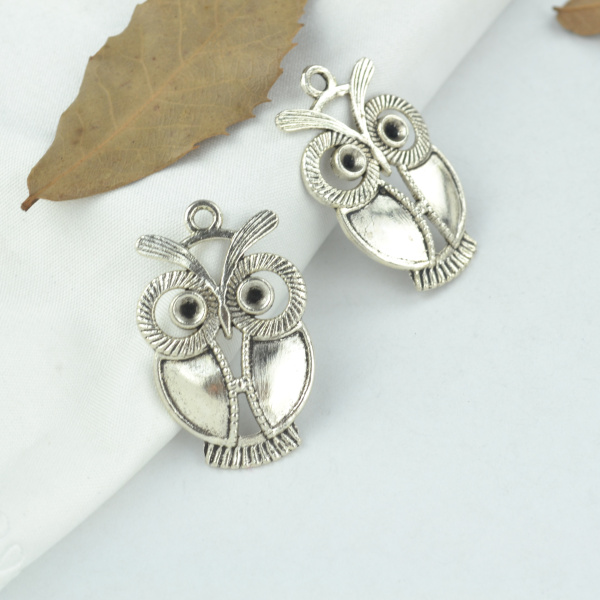 10pcs alloy Tibetan Silver Plated owl Charms Pendants Jewelry Making DIY Handmade Craft 34*22mm 2165