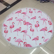 150CM Flamingo Watermelon Large Tassels Beach Towel Throw Microfiber Summer Adult Sport Towel Round Bath Towel Tapestry Yoga Mat