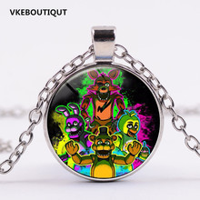 3 Colors 5 Five Nights at Freddy's Necklace Toys FREDDY FAZBEAR Scrabble Tile Pendant Necklace Glass Cabochon Children Gift