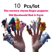 The world classic songs story Old Macdonald had a farm Finger Puppets Cloth Doll Baby Educational Hand Toy Story Kid 10pcs/bag