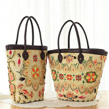 2017 Straw Bag Women Beach Bag Woven Flower Women's Shoulder Handbag Messenger Bags Embroidery Travel Purse Women bags Summer